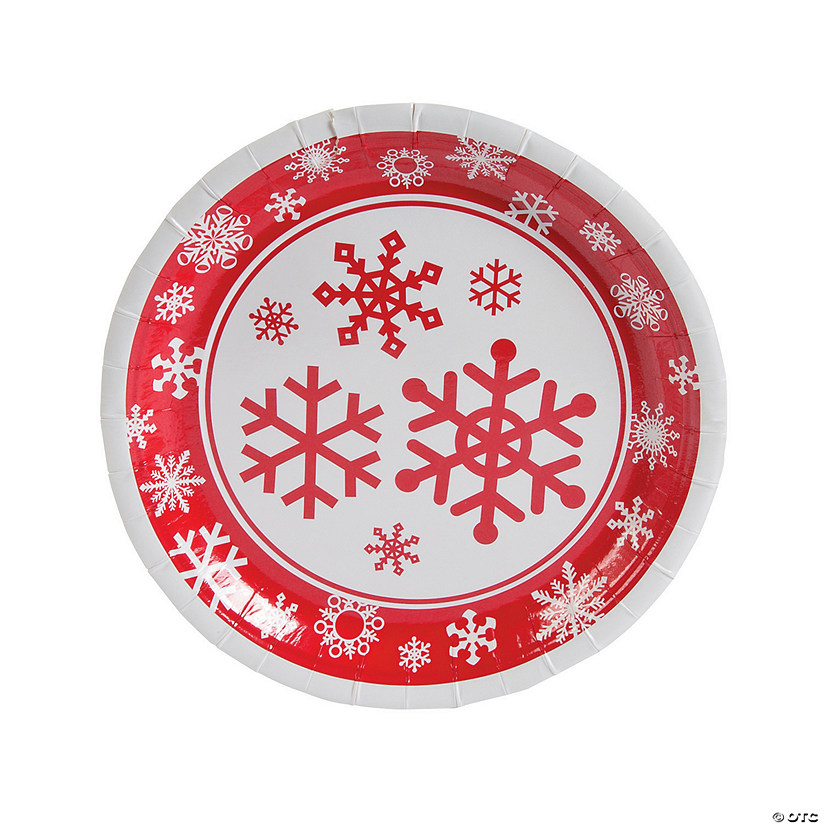 Red & White Snowflake Paper Dinner Plates