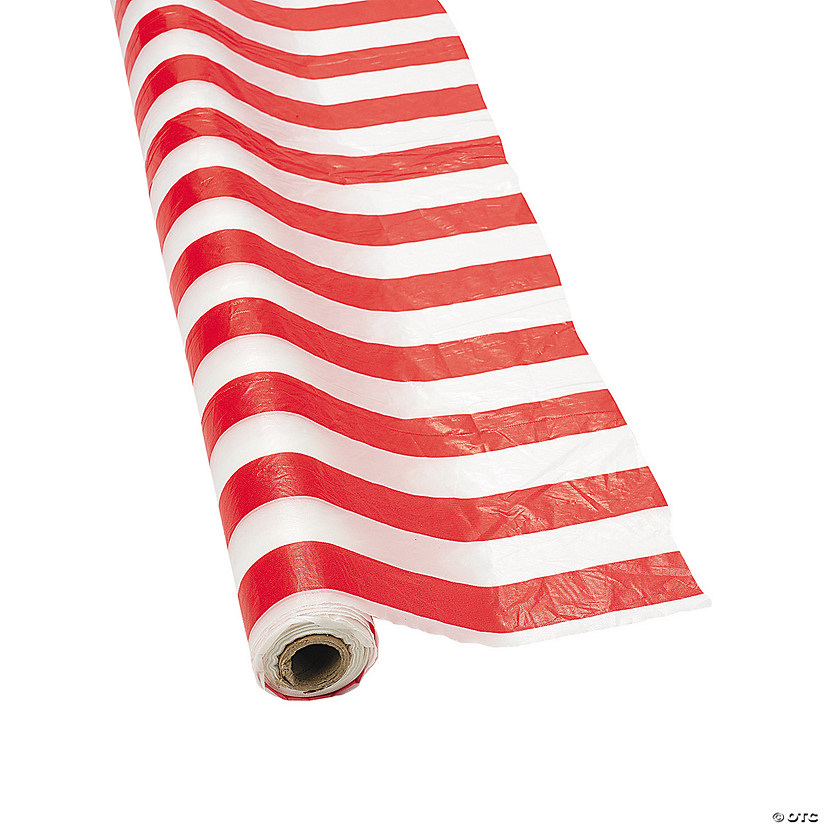 Red & White Striped Plastic Tablecloth Roll Image Thumbnail