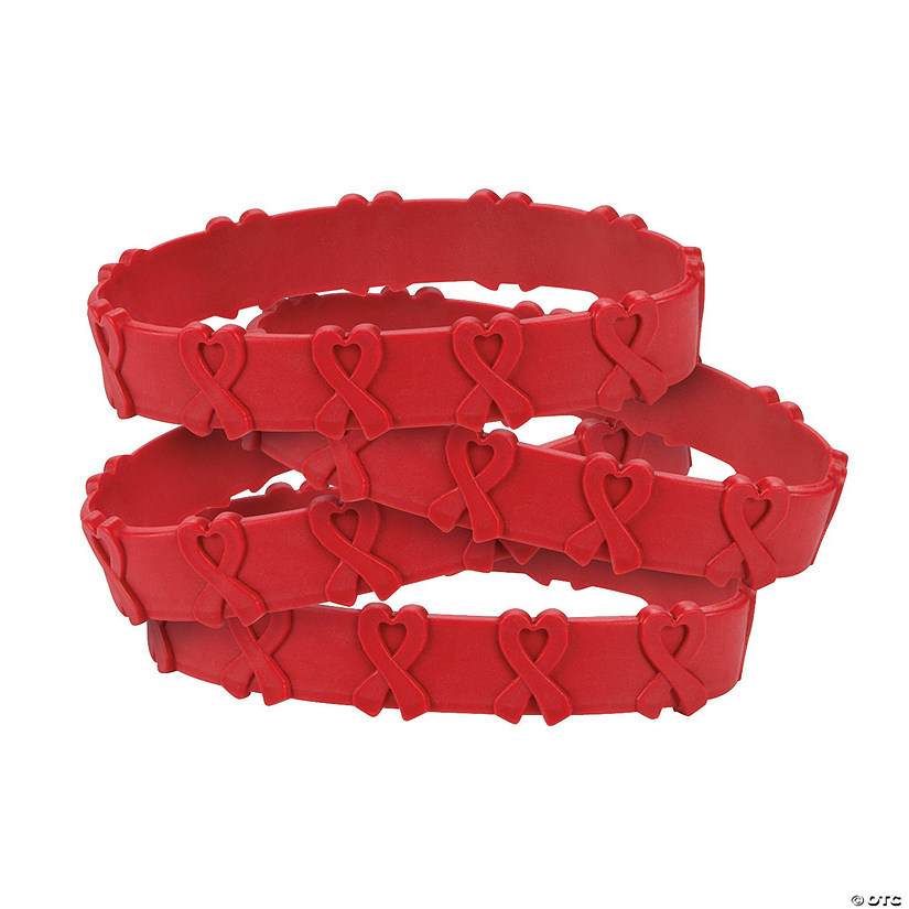 Red Awareness Ribbon Pop-Out Rubber Bracelets Audio Thumbnail