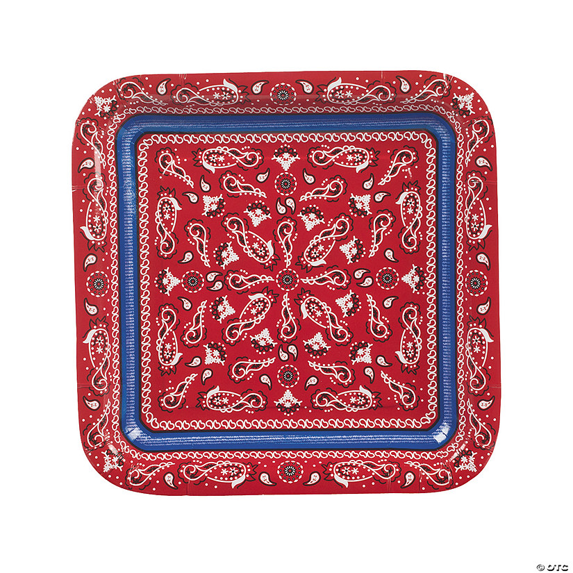 Red Bandana Square Paper Dinner Plates