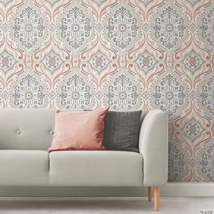 Red Bohemian Damask Peel & Stick Wallpaper Audio Thumbnail