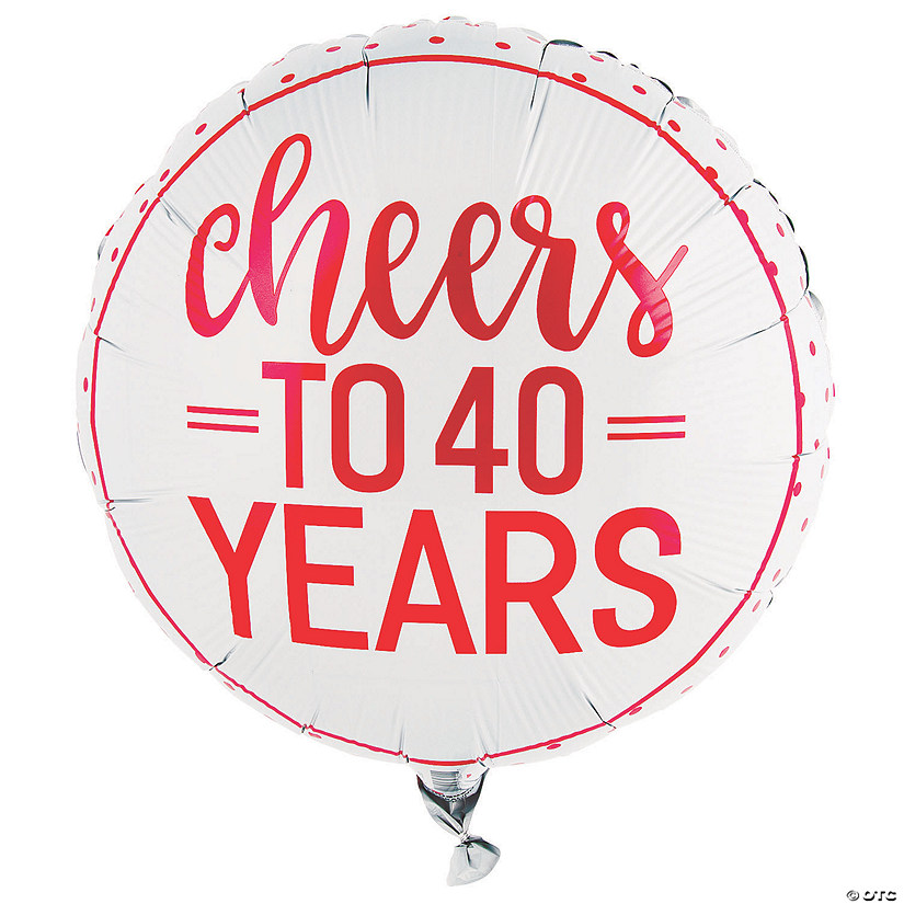 Red Cheers to 40 Years Mylar Balloon Audio Thumbnail