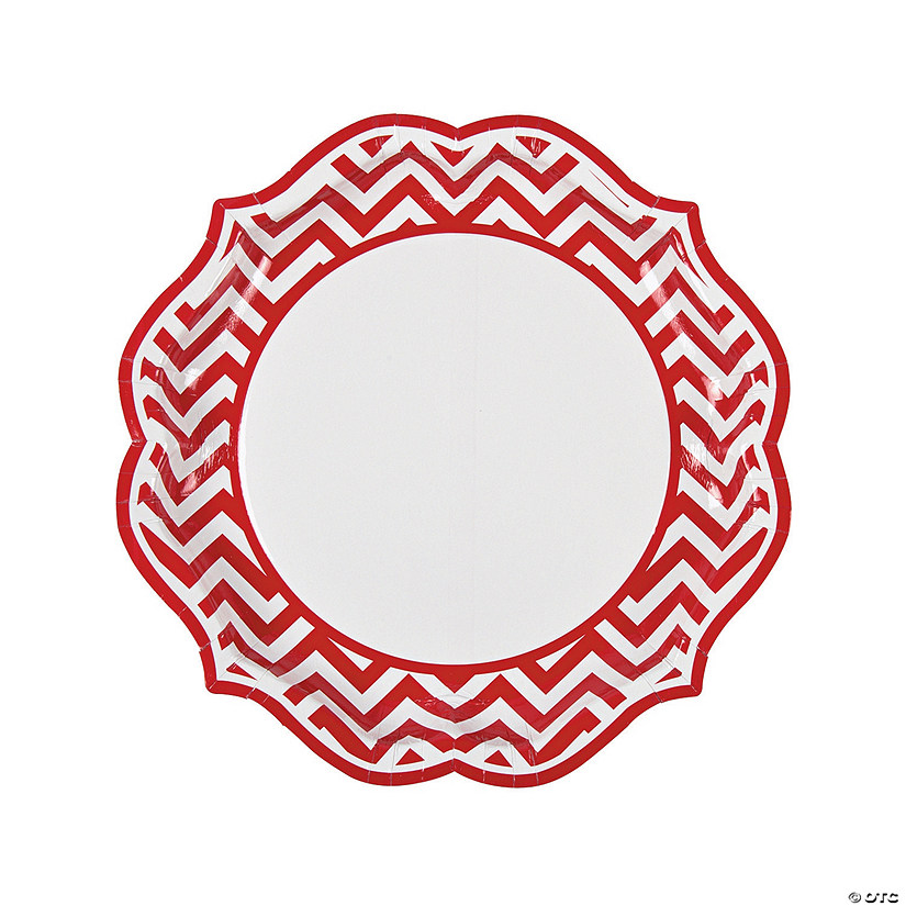 Red Chevron Scalloped Paper Dinner Plates Audio Thumbnail