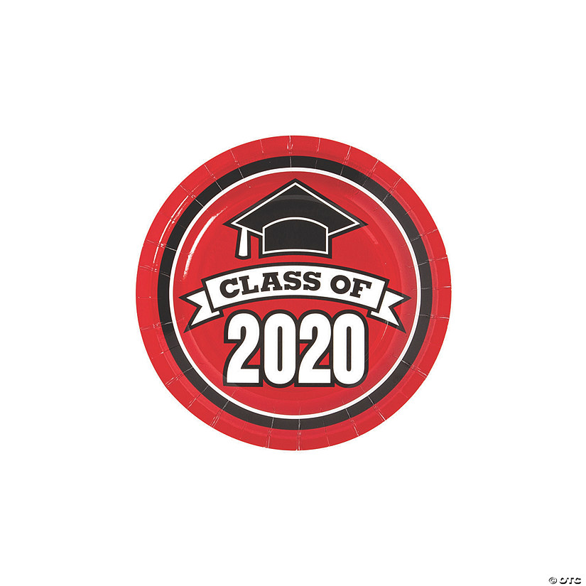 Red Class of 2020 Paper Dessert Plates - 25 Ct. Audio Thumbnail