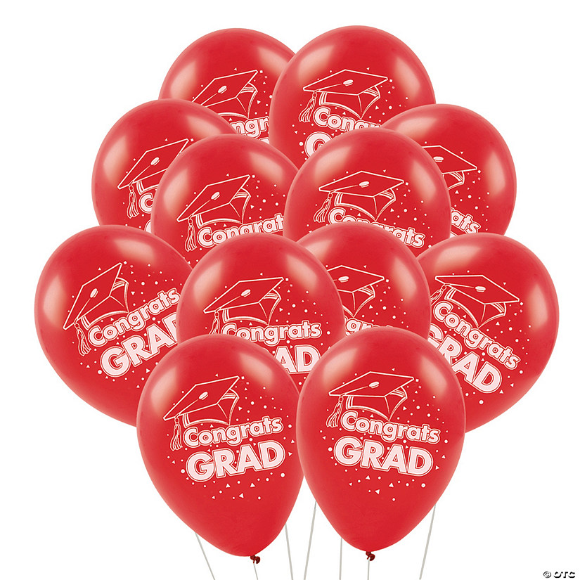 "Red Congrats Grad 11"" Latex Balloons"