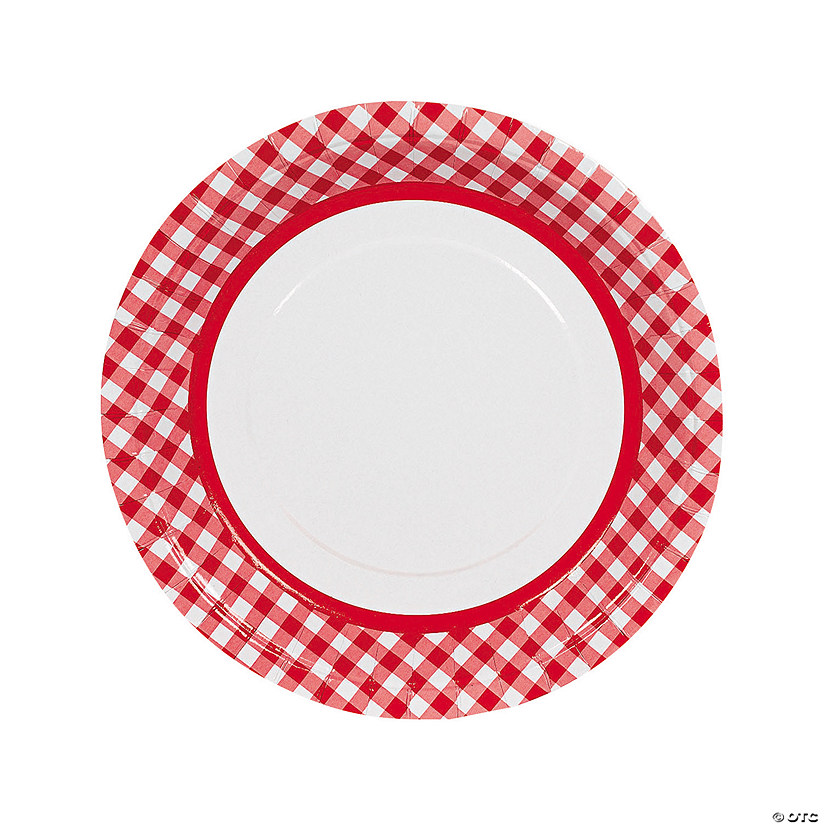 Red Gingham Paper Dinner Plates