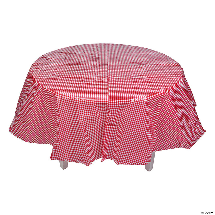 Red Gingham Round Plastic Tablecloth 13749387