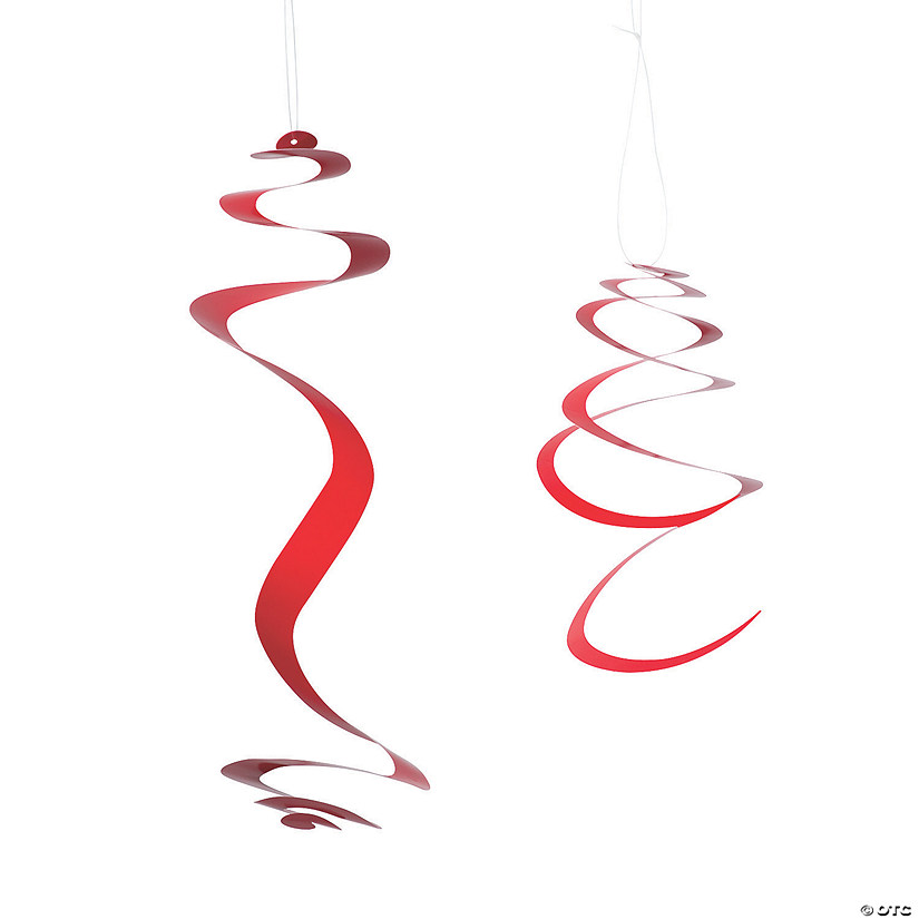 Red Hanging Swirl Decorations - 12 Pc. Image Thumbnail