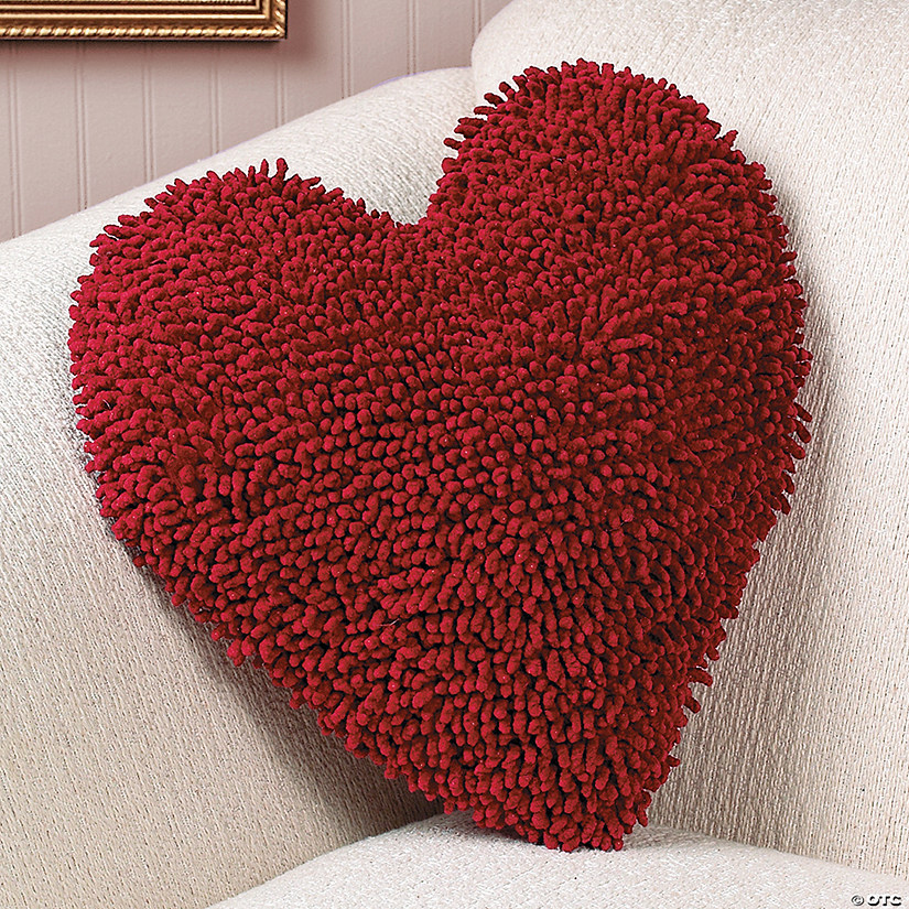Red Heart Chenille Pillow Image Thumbnail