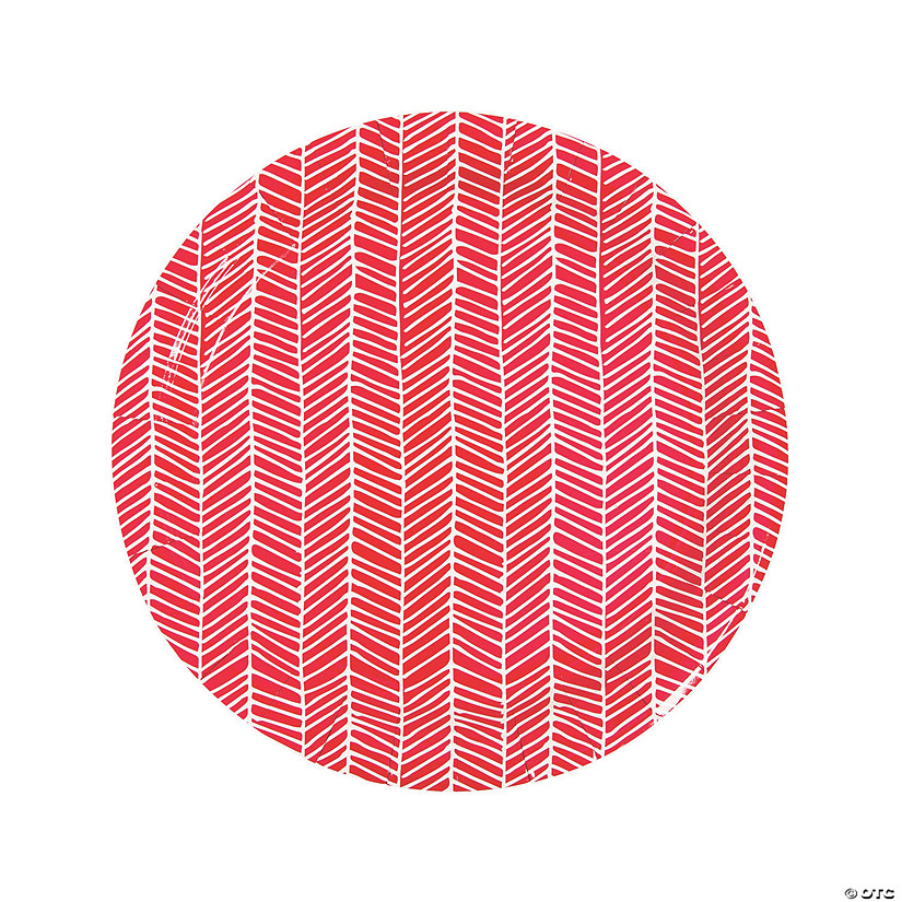 Red Herringbone Print Round Paper Dinner Plates - 8 Ct. Audio Thumbnail