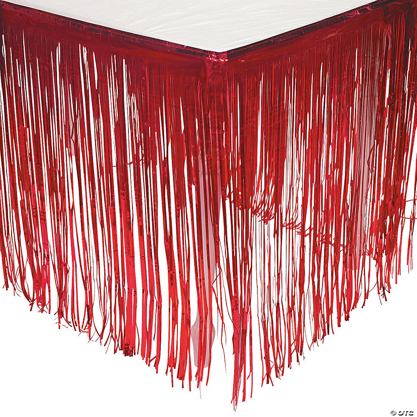 Red Metallic Fringe Table Skirt Audio Thumbnail