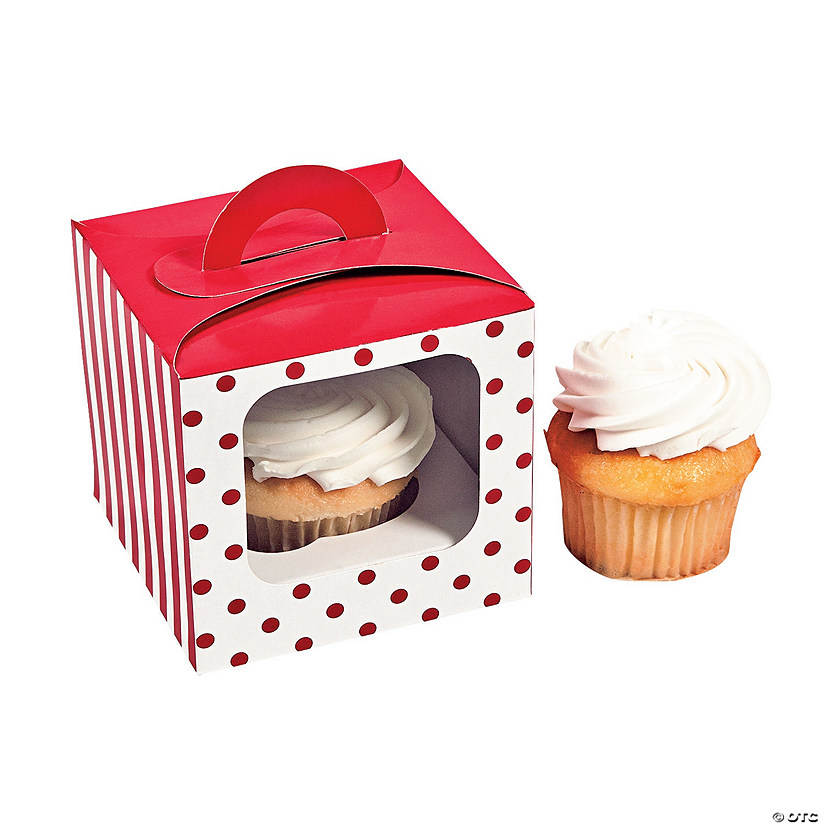 Red Polka Dot Cupcake Boxes with Handle Audio Thumbnail