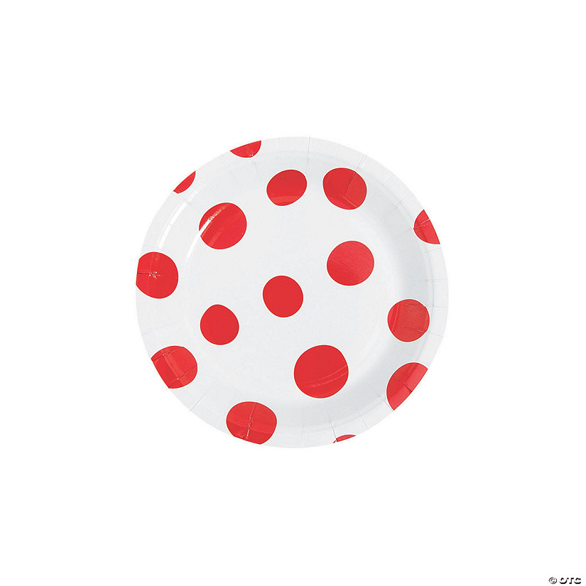 Red Polka Dot Round Paper Dessert Plates - 8 Ct. Audio Thumbnail