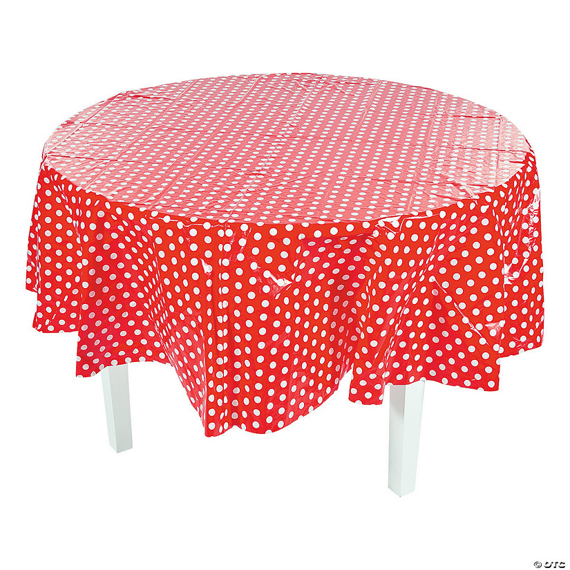 Red Polka Dot Round Plastic Tablecloth 13774816
