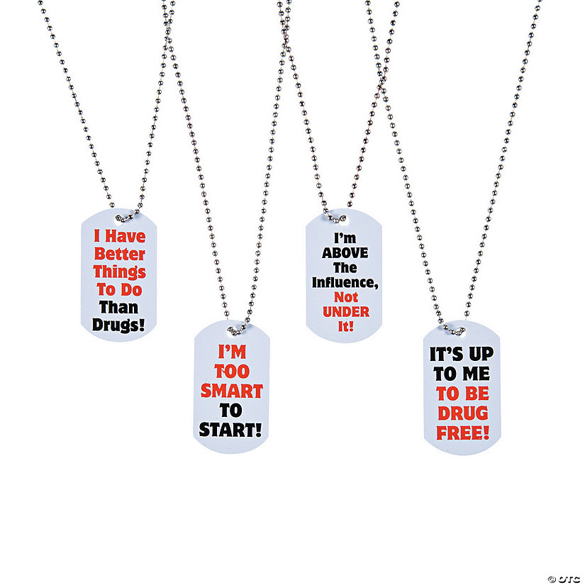 Red Ribbon Week Dog Tag Necklaces