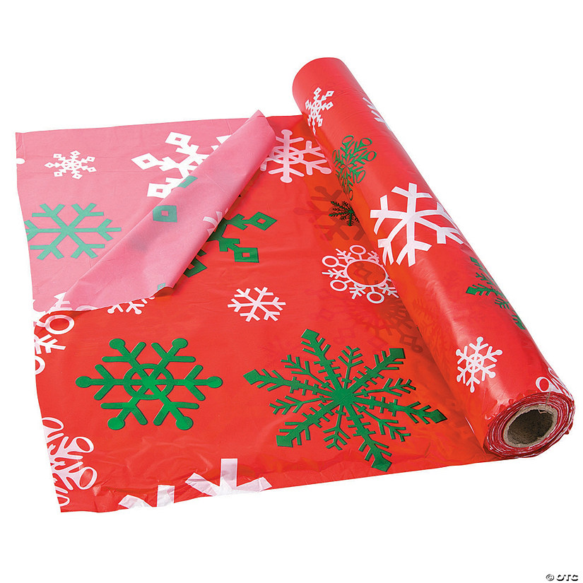 Red Snowflake Plastic Tablecloth Roll Audio Thumbnail