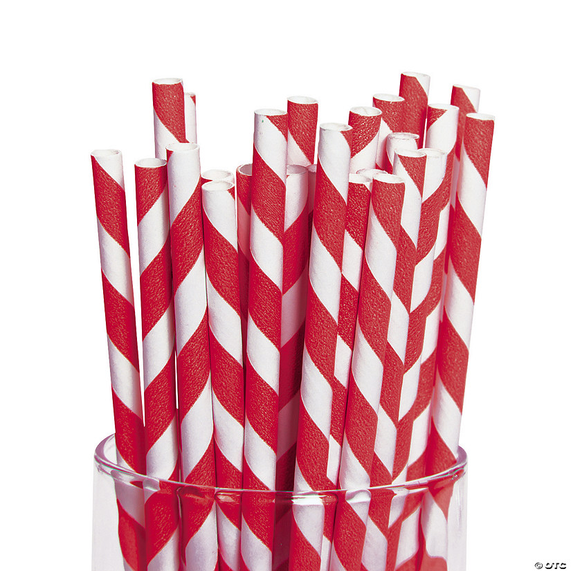 Red Striped Paper Straws Image Thumbnail