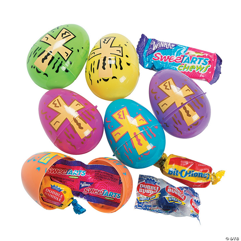 Religious Bright Printed Candy-Filled Plastic Easter Eggs - 24 Pc. Audio Thumbnail