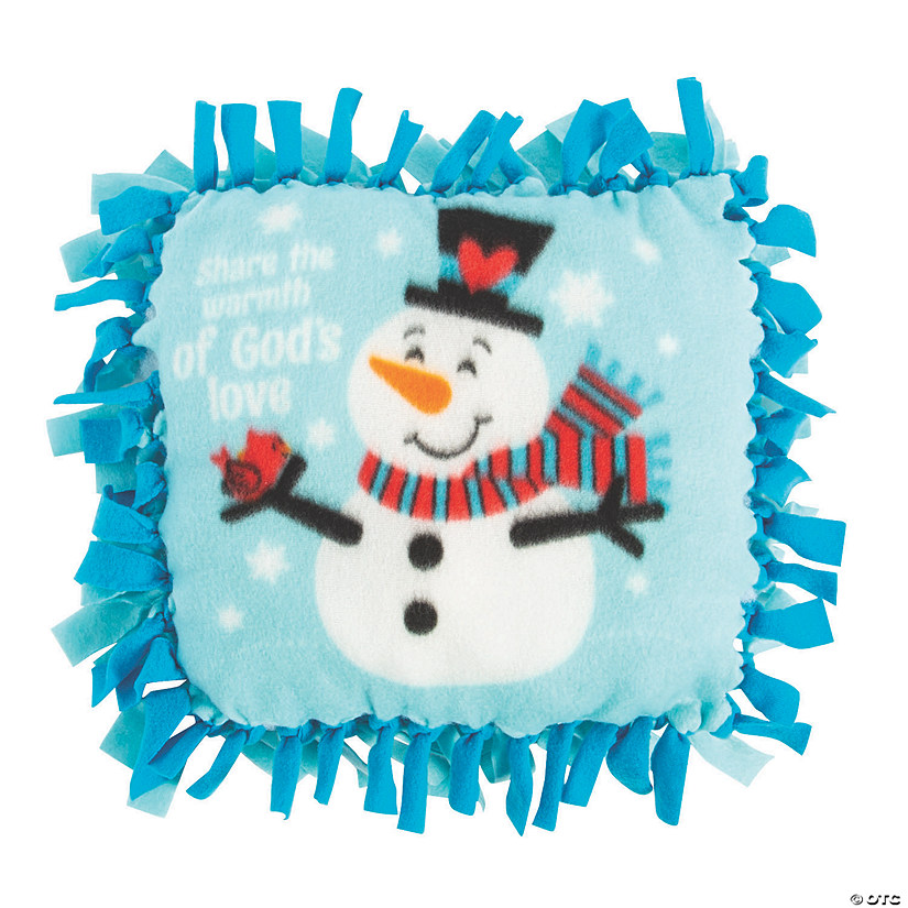 Religious Snowman Fleece Tied Pillow Craft Kit Audio Thumbnail