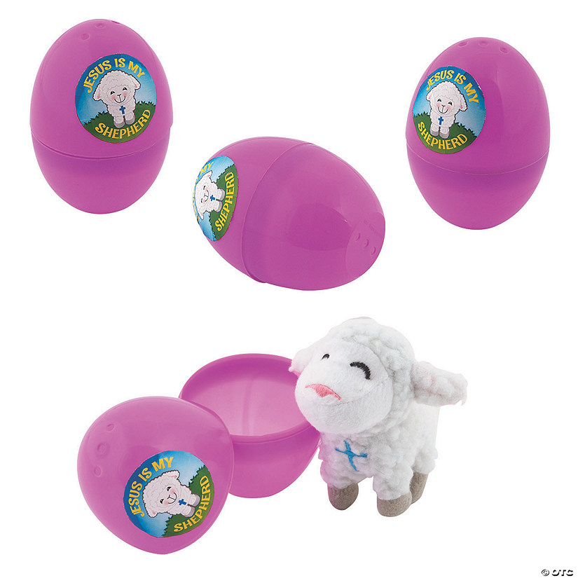 Religious Stuffed Lamb-Filled Plastic Easter Eggs - 12 Pc. Audio Thumbnail