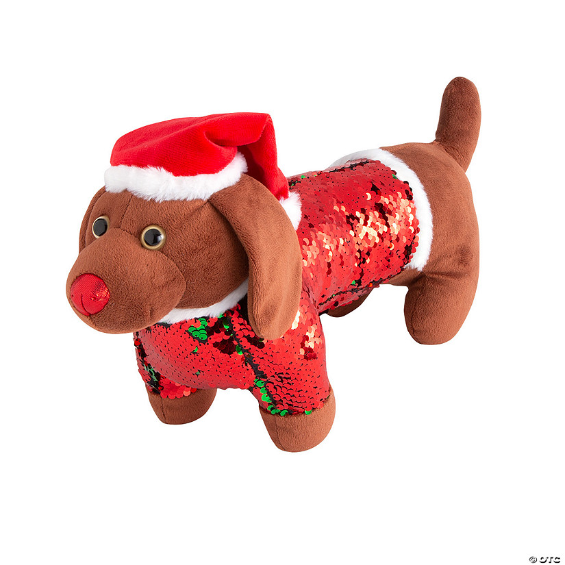 Reversible Sequin Stuffed Dog
