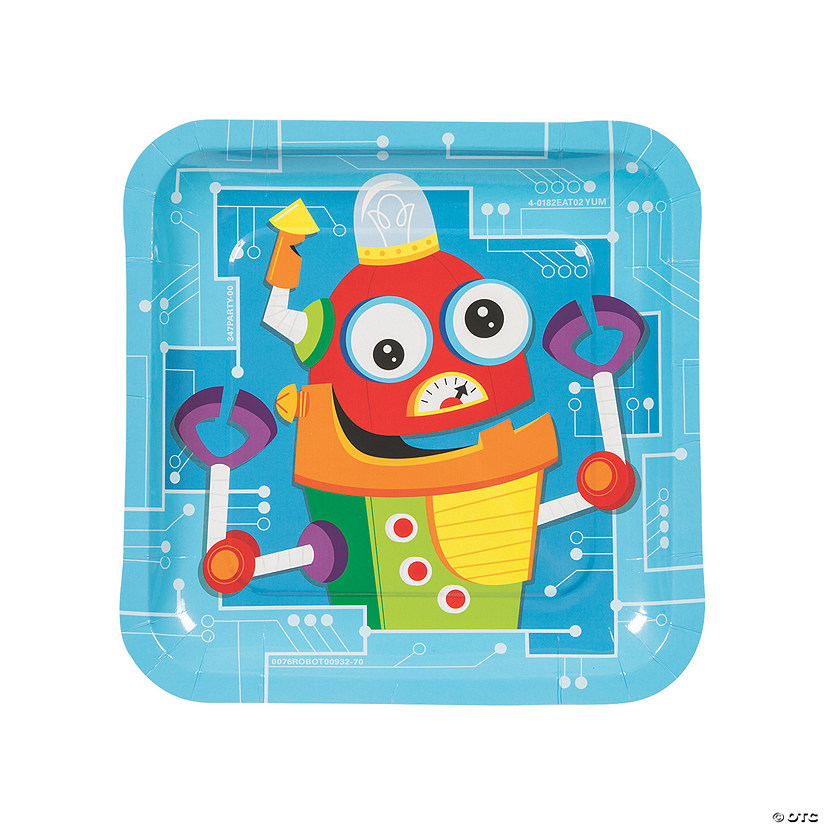 Robot Party Paper Dinner Plates - 8 Ct. Audio Thumbnail