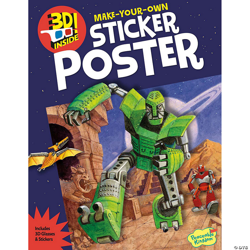 Robot Space Invasion-3D Poster Sticker Acitivity Book