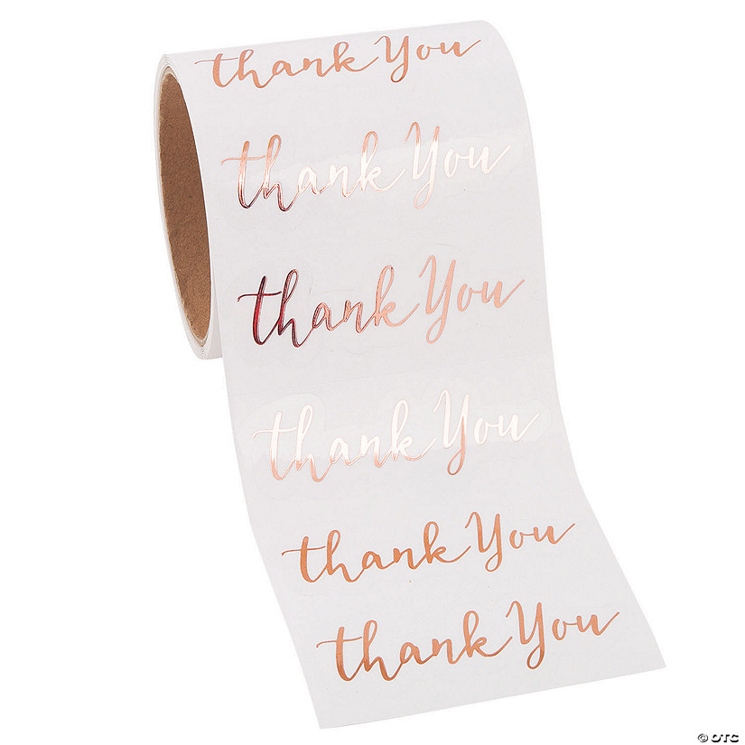 Rose Gold Foil Modern Thank You Stickers Audio Thumbnail