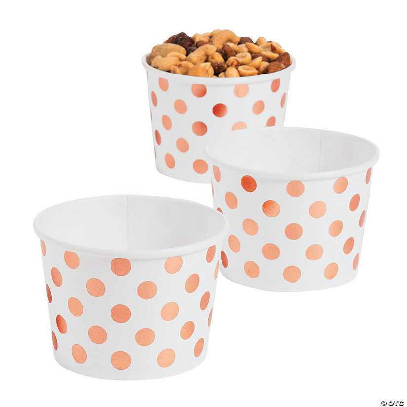 Rose Gold Foil Polka Dot Snack Paper Bowls Audio Thumbnail