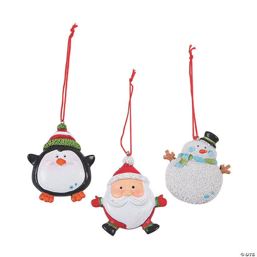Round Christmas Character Ornaments