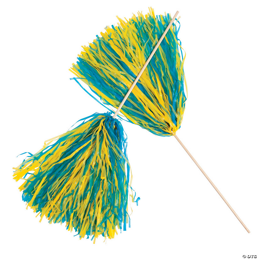 Royal Blue & Yellow Two-Tone Spirit Cheer Pom-Poms - 24 Pc. Image Thumbnail