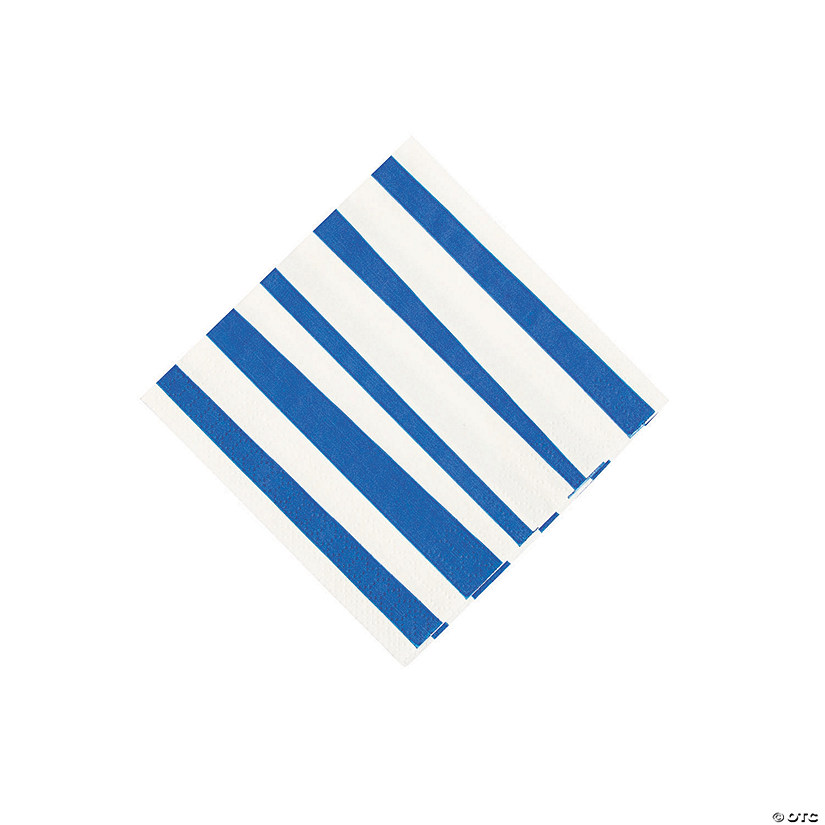 Royal Blue Striped Beverage Napkins Audio Thumbnail