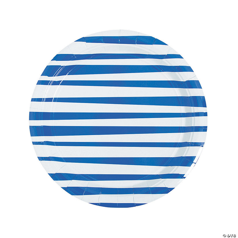 Royal Blue Striped Round Paper Dinner Plates - 8 Ct. Audio Thumbnail