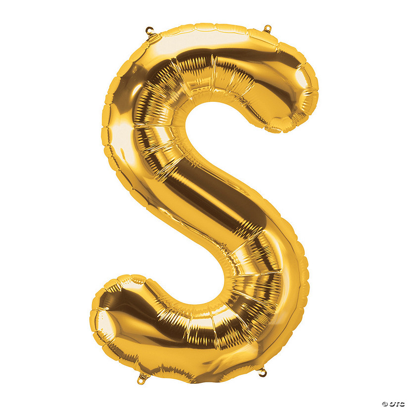 S Gold Letter Mylar Balloon