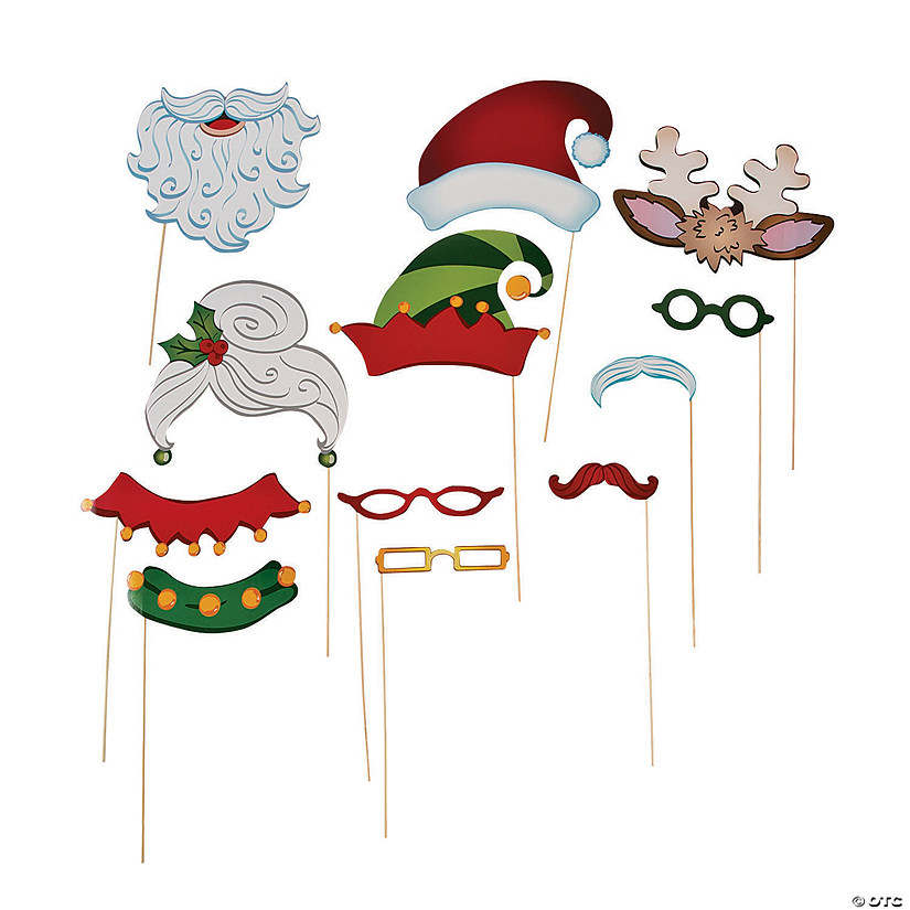 Santa & Elf Costume Photo Stick Props