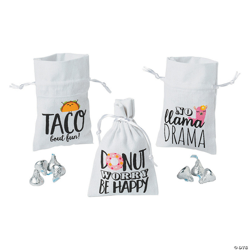 Sassy Sayings Canvas Drawstring Treat Bags