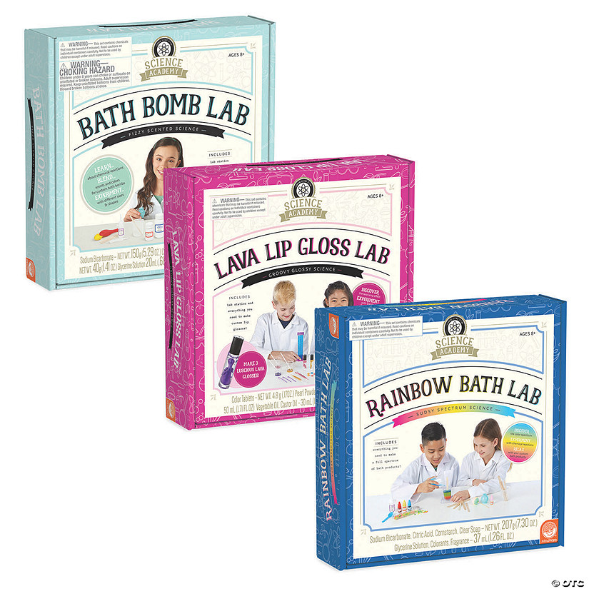 Science Academy: Bath Bomb, Lava Lip Gloss and Rainbow Bath Lab: Set of 3 Image Thumbnail