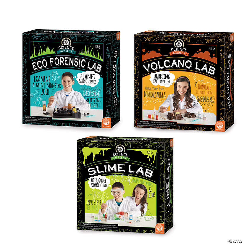 Science Academy: Eco Forensics, Volcano and Slime Lab: Set of 3