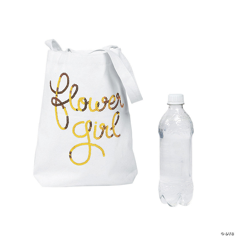 Sequin Flower Girl Canvas Tote Bag Audio Thumbnail