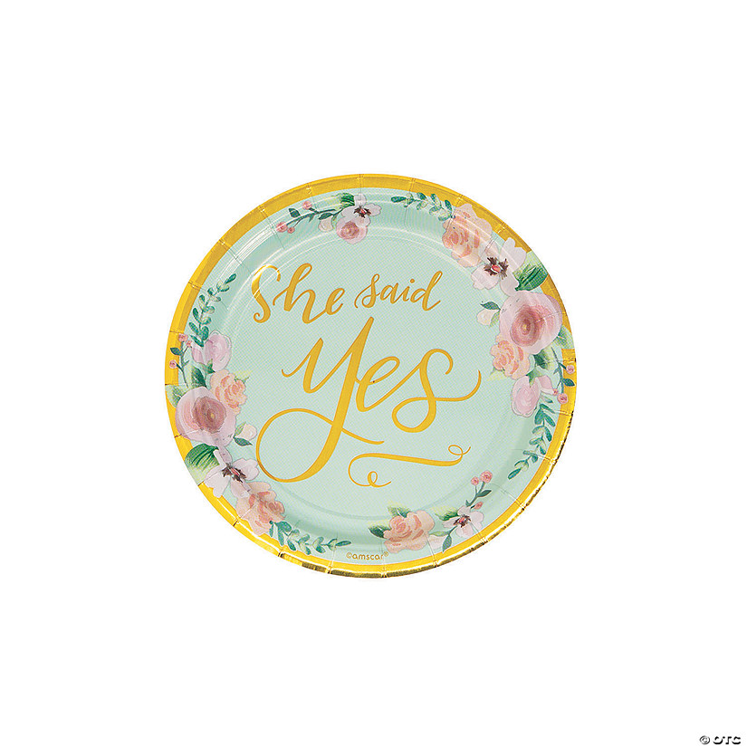 She Said Yes Paper Dessert Plates