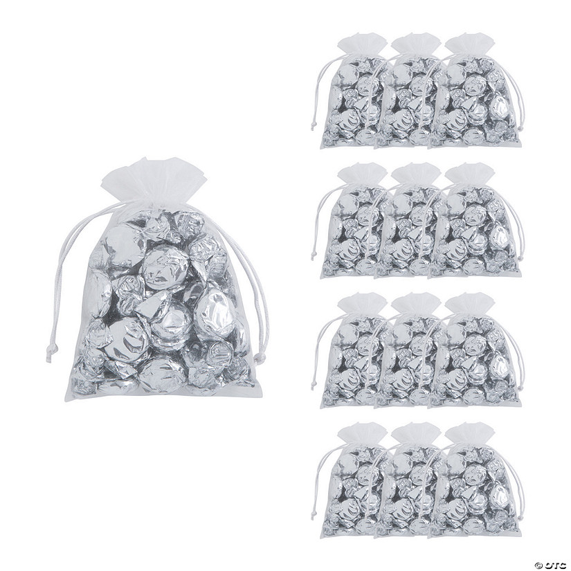 Sheer White Organza Drawstring Bags Audio Thumbnail