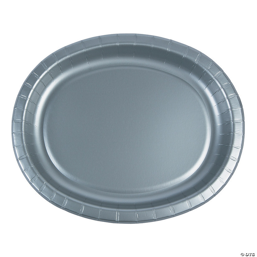 Shimmering Silver Oval Paper Dinner Plates Audio Thumbnail