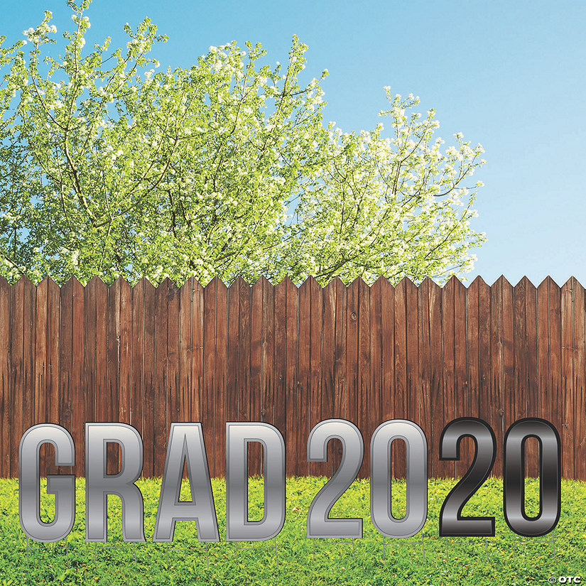 Silver & Black Grad 2020 Letters Yard Sign Audio Thumbnail
