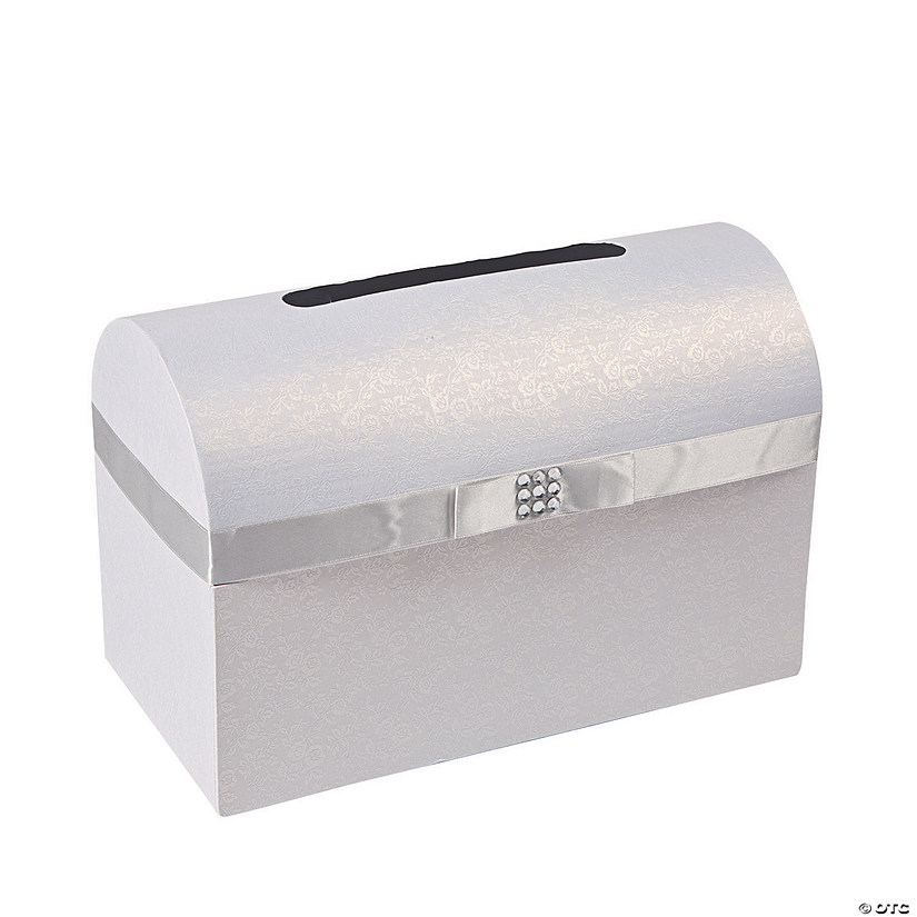Silver Bow Wedding Card Box