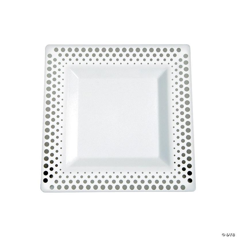 Silver Dot Plastic Dessert Plates