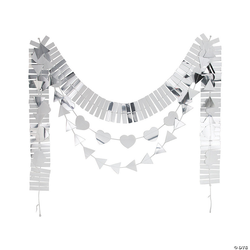 SIlver Foil Layered Heart Garland Set Image Thumbnail