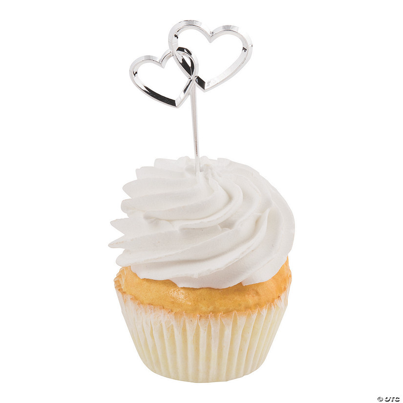 Silver Hearts Plastic Cupcake Picks