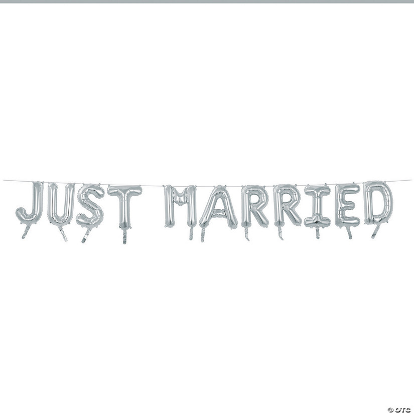 "Silver Just Married 16"" Mylar Balloon Banner"