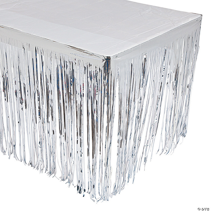 Silver Metallic Fringe Table Skirt Audio Thumbnail