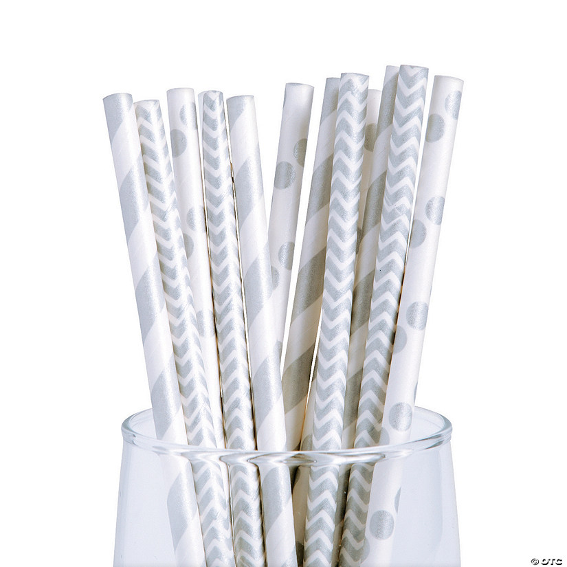 Silver Paper Straw Assortment Image Thumbnail
